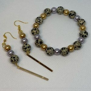 Dalmatian bracelet and gold plated earrings